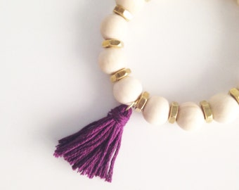 JEWELRY Collection: Natural wood bead hex nut plum tassel bracelet