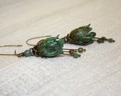 Verdigris Tulip earrings, Green Flower Earrings, Tulip Jewelry, Vintage Style Antique Brass Tulip Earrings