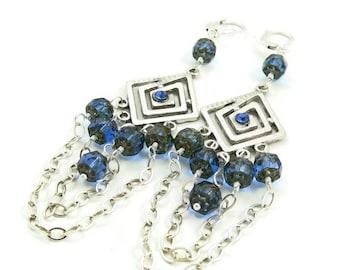 SALE As seen on Hart of Dixie - Sterling Silver and Blue Crystal Long Dangle Earrings - Chandelier Earrings - Celebrity Jewelry - Artisan Je