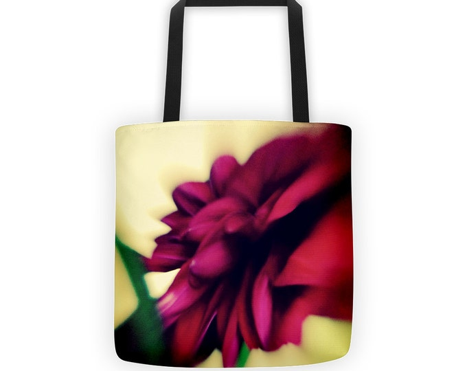 Ruby Red Dahlia Petals Tote for Eco Shopping and School and Sundry