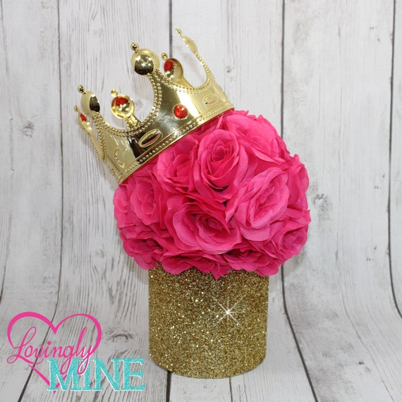 Princess glitter gold hot pink centerpiece faux silk rose