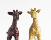 Safari Giraffes Jungle Nursery Decor for Baby Shower Decorations in Gold and Brown Golden Glitter, Table Settings or Children's Room Decor