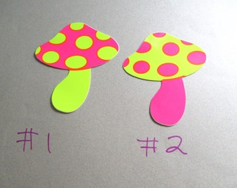 """Mod Mushroom Stickers 1980's FOUR Psychedelic Vintage Repro 1960's Neon Polka Dot 3"""" Shroons Dorm 1960's Party Name Tags Hippie Phish Dead"""