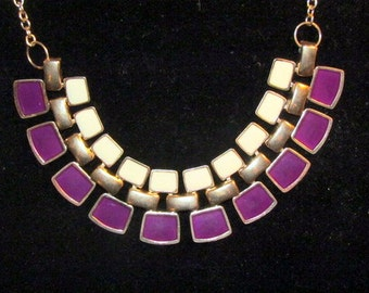 PURPLE And White BIB NECKLACE