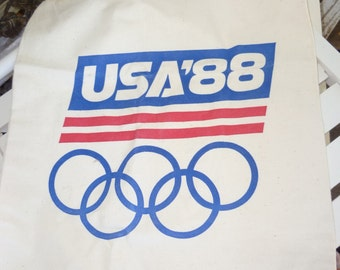 SALE 80s Canvas Tote Olympic Drawstring Bag Tote 88 Never used Canvas Bag 1988 New Old Stock