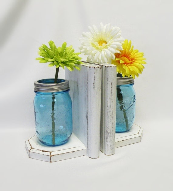 Mason jar vases and bookends turquoise jars wood bookends for Mason jar bookends