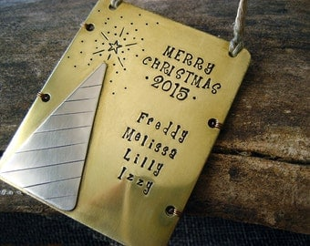 Personalized Holiday Ornament - Family Ornament - Holiday 2015 Ornament - Brass Ornament - Nickel Silver - Aluminum Backer