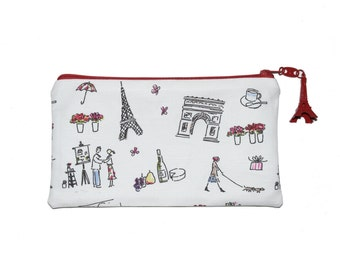 Walking in Paris Zipper Pouch with Eiffel Tower - Several sizes avalaible