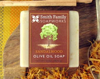 Sandalwood Soap - Mens Soap, Natural Soap, Handmade Soap, Olive Oil Soap Bar, Cold Process Soap