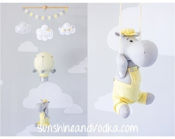 Hot Air Balloon and Hippopotamus Baby Mobile,  Hippo Travel Theme, Nursery Decor, Yellow and Gray, i202