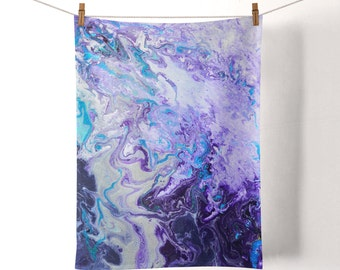 Amethyst Purple Tea Towel - Purple, Lilac, Mauve, White, & Silver Colourful Flour Sack Cotton Duck Tea Towel