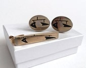 Modernist Kinetic Sculpture/ Mobile Themed Tie Bar and Cuff Link Set // 1950s // 50s // Mid Century // Gold // Calder Inspired