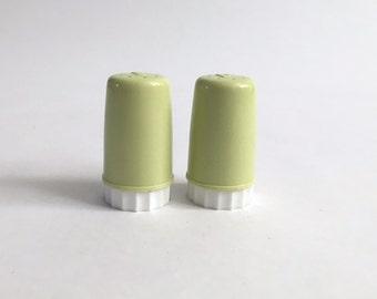 Vintage Plastic Petite Salt and Pepper Shaker Set - Light Chartreuse Shade