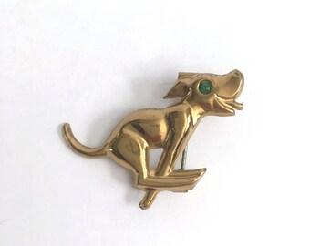 Tin Metal Art Happy Dog Pin Novelty Brooch // Puppy // Pup // Doggy // Rhinestone