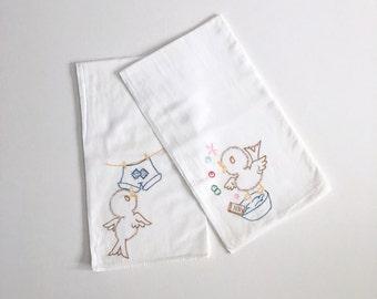 Large Vintage Embroidered Kitchen Linen Tea Towel Dish Towel Set 2 - bird birdies chickadees