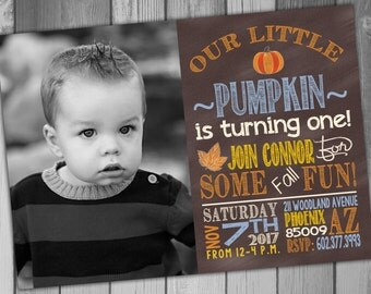 pumpkin st birthday  etsy, Birthday invitations