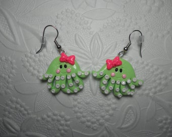 Polymer Clay Octopus Earrings, Charm, Gift