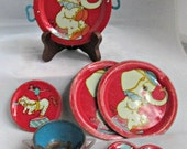 Tin Litho Circus Toy Dishes 8 Pieces Ohio Art Lithograph Mid Century