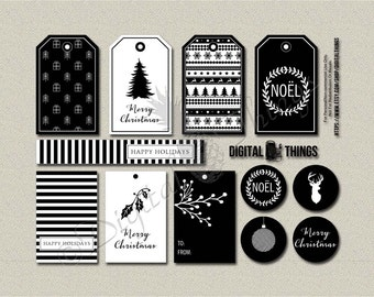 Digital Christmas Tags Printable Christmas Gift Tags Modern Black and White Digital Download DT1784