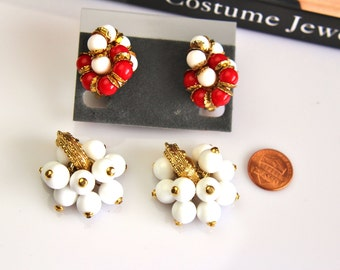 Vintage Lot Set  of Red and White   beaded  Earrings Clip on #586