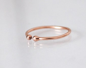 Solid rose gold ring, above the knuckle ring, rose gold toe ring, midi ring, adjustable ring, solid 9k rose gold
