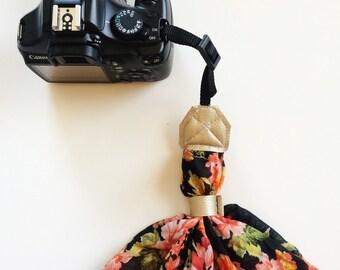 Floral Wristlet Camera Strap, Wrist DSLR Camera Strap, Stylish Black and Floral Camera Strap