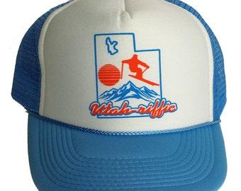 Light Blue Utah Riffic Skiing Ski Snapback Mesh Trucker Hat Cap