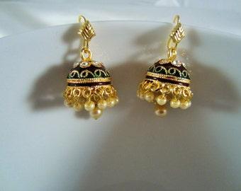 On Sale -Chandelier Earrings, Meenakari Pearl Jhumkas, Indian Jewelry, Minakari Jumkis