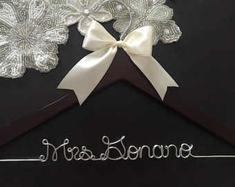 Wedding Hanger, Bridal Hanger, Personalized Custom Bridal Hanger, Brides Hanger, Bride, Name Hanger, Personalized Bridal Gift