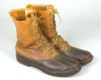 60s LL Bean Cursive Label Maine Duck Hunting Leather / Rubber Sport Boots 10 D
