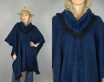70s Mohair Poncho Navy Blue Pullover Minimalist Cape