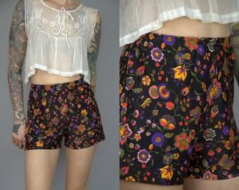 70s Hot Pants High Waisted Indian Batik Floral Roller Girl Disco Shorts
