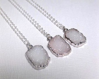 WHITE DRUZY NECKLACE - Silver Druzy - Layering Necklace - Small - Natural - Quartz - Gemstone - Choose Your Chain Length - Christmas Gift