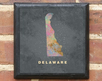 Delaware Splatter Watercolor Paint Effect Wall Art Sign Plaque Gift Present Personalized Color Custom Home Decor DE Dover Milford Classic