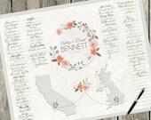 Boho Wedding, Guest Sign, Guest Book Alternative, Wedding Guest Book Alternative Map, Floral Wedding, Wedding Poster