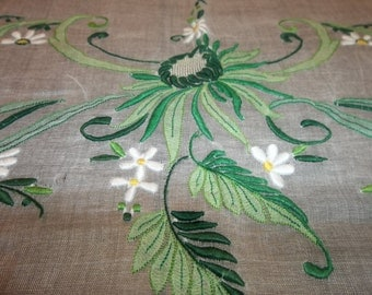 """Magnificent MADEIRA Linen / Organdy Tablecloth ....Beautiful Spider Mums...66"""" by 86"""""""