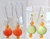 Lime Green Mother of Pearl or Orange Jade Disc Dangle Earrings, Handmade Original Fashion Jewelry, Beach Inspired Summer Color Ladies Gift