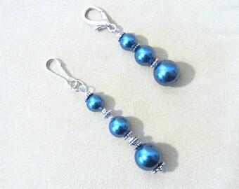 Midnight Pearls & Silver Purse Charm, Zipper Pull/Stylus Charm/Guitar Charm/Add a Charm/Keychain, Handmade Original Fashion Accessory Gift