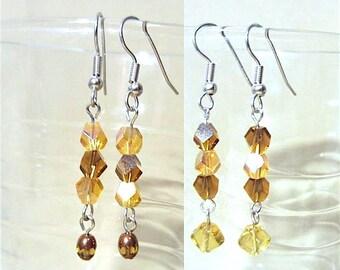 Helix Crystal Beaded Earrings, Amber & Brown Dangle Earrings w/Amber Diamond or Amber Picasso Beads, Handmade Jewelry Amber Beaded Earrings