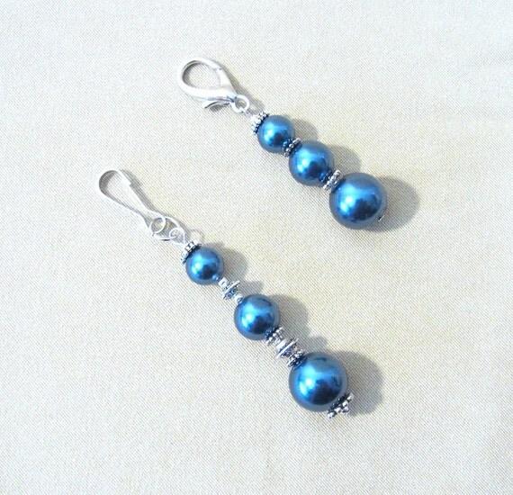 Midnight Blue Pearl & Silver Add a Charm Charm, Beaded Jewelry Purse Charm Blue Bead Zipper Pull Blue Bead Keychain Zipper Charm Blue Beaded