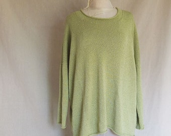 Light Green Cotton Mix Handmade knitted Pullover with Viscose - individually made by kathrin kneidl