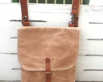 Free Shipping Tan Waxed Canvas  Mini Backpack  with Removable Leather Strap / School / Travel