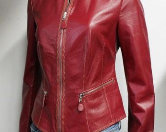 Italian handmade Women soft genuine lambskin leather jacket color Red Wine
