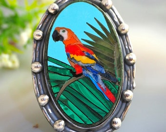 Mosaic Ring Macaw Parrot Statement Ring Sterling Silver Jewelry