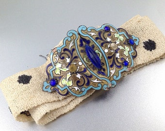 Stunning Champlevé French Enamel Buckle with belt. Art Nouveau Era French Buckle Sash. Sapphire French Glass Buckle. Cloisonné Buckle. Pol
