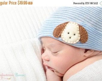SALE puppy newborn boy hat blue and white stripes newborn hospital hat for a baby boy.   Baby boy hospital hat with puppy, boy hospital hat