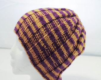 Knit Ribbed Beanie - Adult or Teen - Sport Team Hat - Winter Hat - Purple and Gold Striped Toboggan Hat