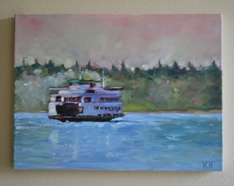 Original Oil Painting on Canvas: Ferry Boat Crossing