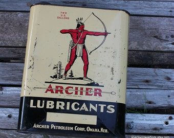 Archer Lubricants Vintage 2 Gallon Can Metal Advertising Omaha Nebraska