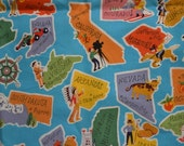 Vintage USA states capitals maps, geography fabric vintage new fabric cut explore America fabric quilt